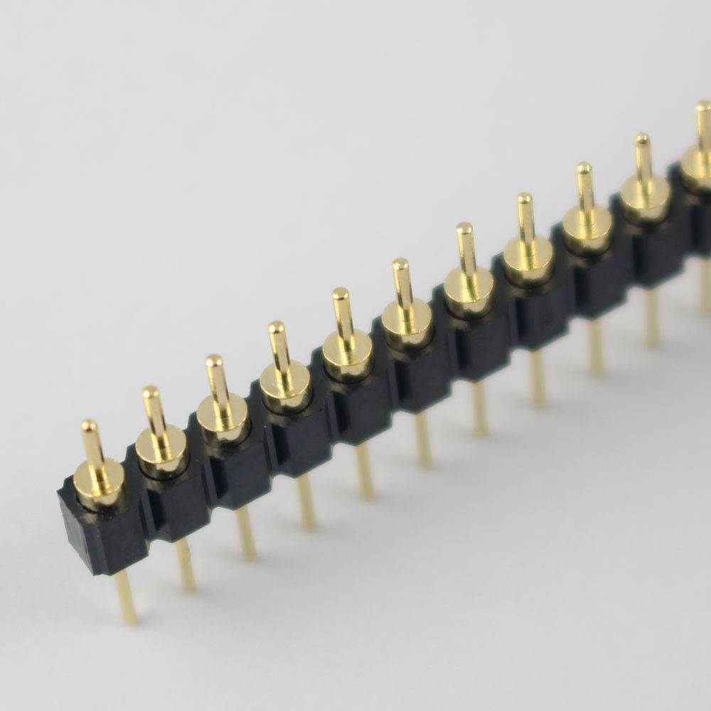 Gold Plated 2.54mm Male 40 Pin Single Row Straight Round Pin Header Strip