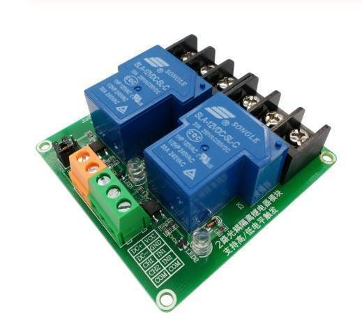 Two 30A 2-channel relay module with 5V 12V 24V optocoupler isolation in Pakistan