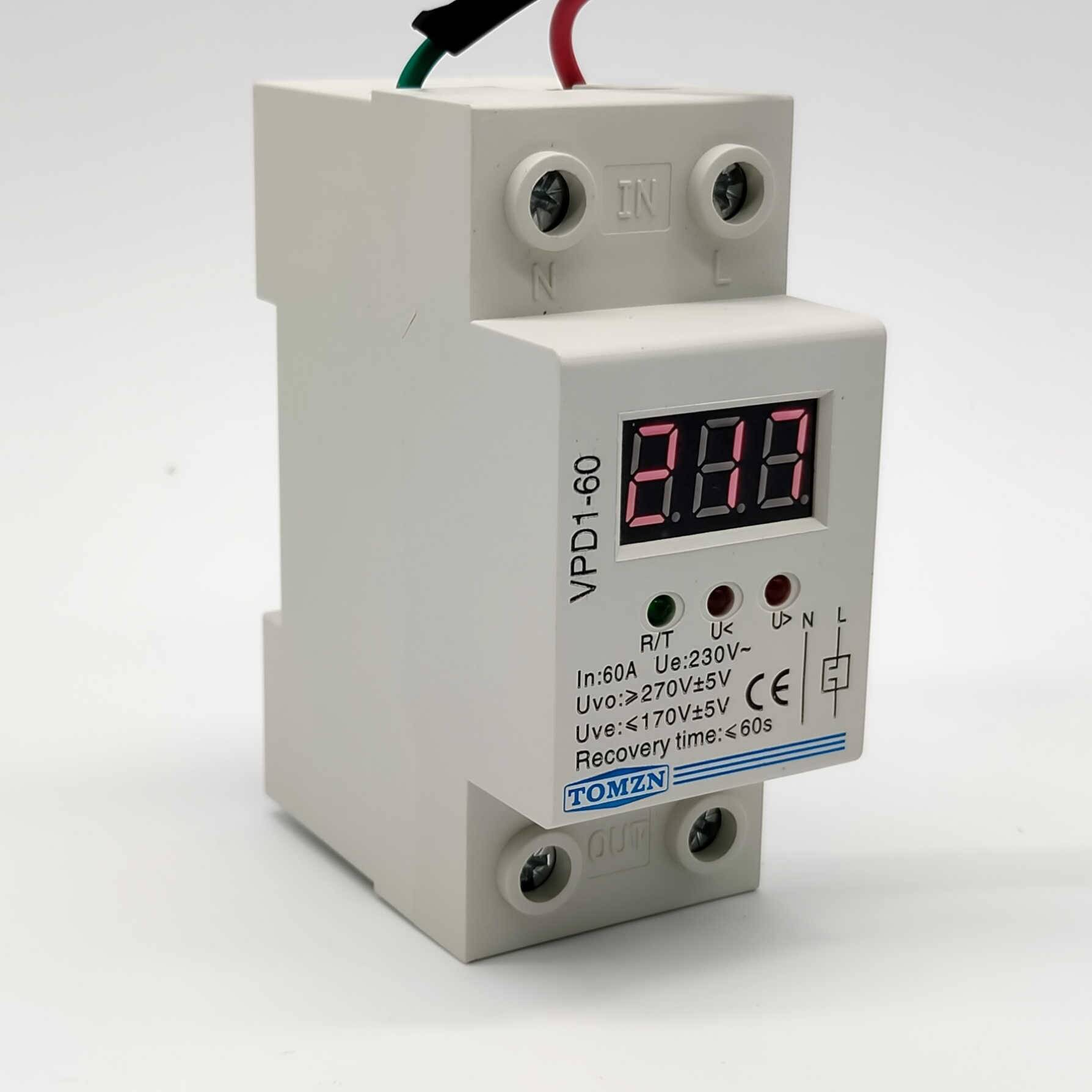 TOMZN VPD1 40A 60A 220V over and under voltage protection protective device relay with Voltmeter in Pakistan