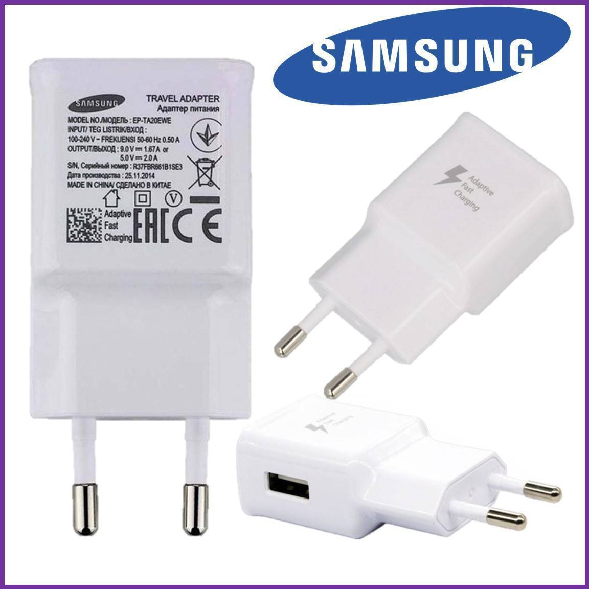 EP-TA20EWE Samsung Mobile Charger Phone Charger USB Adaptive Fast Charging Wall Charger