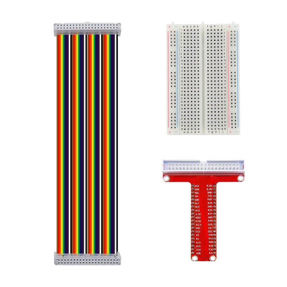 T Type GPIO Breakout board with 40 pin Cable and 400 holes Breadboard for Raspberry Pi 3 2 Model B model B+