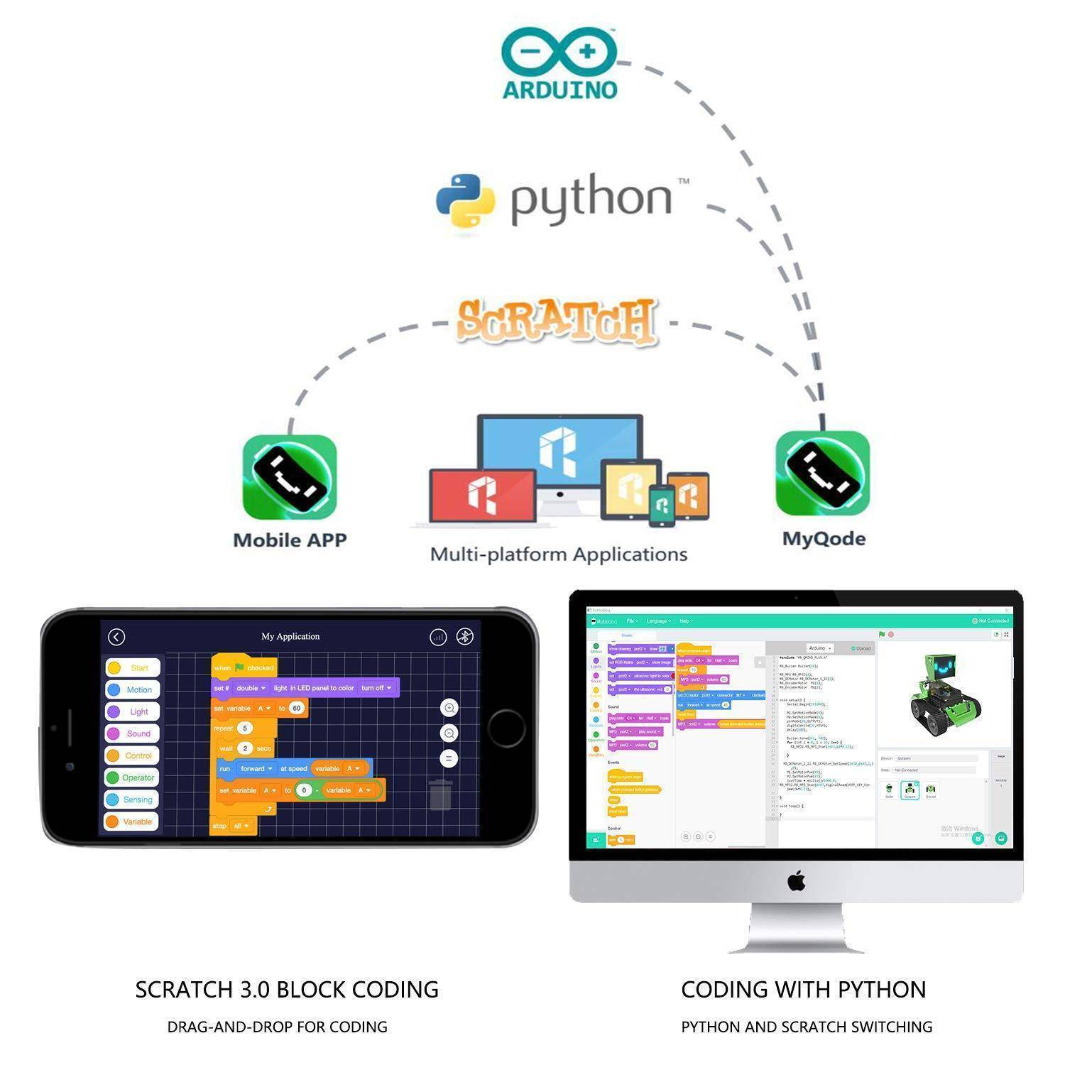 Qoopers 6 In 1 Python, Scratch And Arduino Programmable Robot By Robobloq