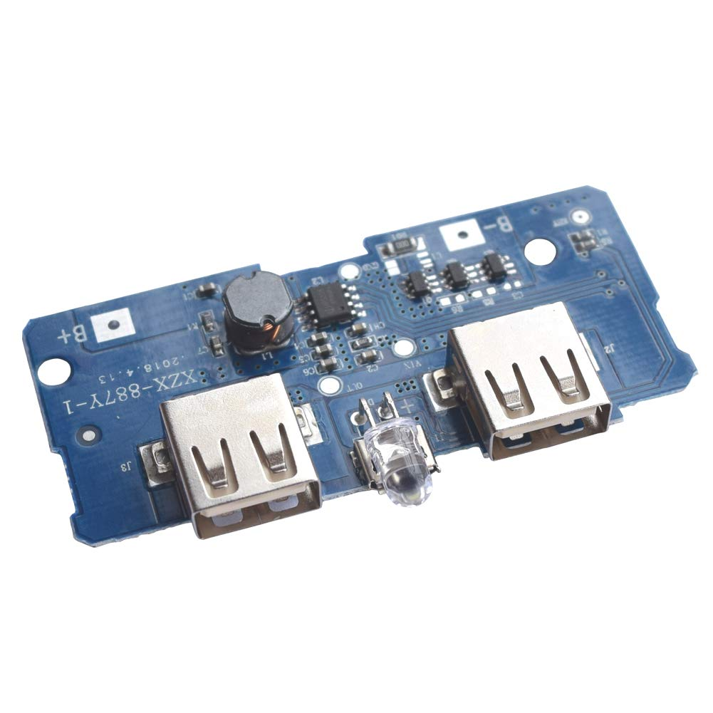 XZX-887Y-1  5V 2A Boost Step Up Module Dual USB Charging Circuit Board PCB Board with Led Light for 18650 Lithium Battery Mobile Power Bank DIY in Lahore