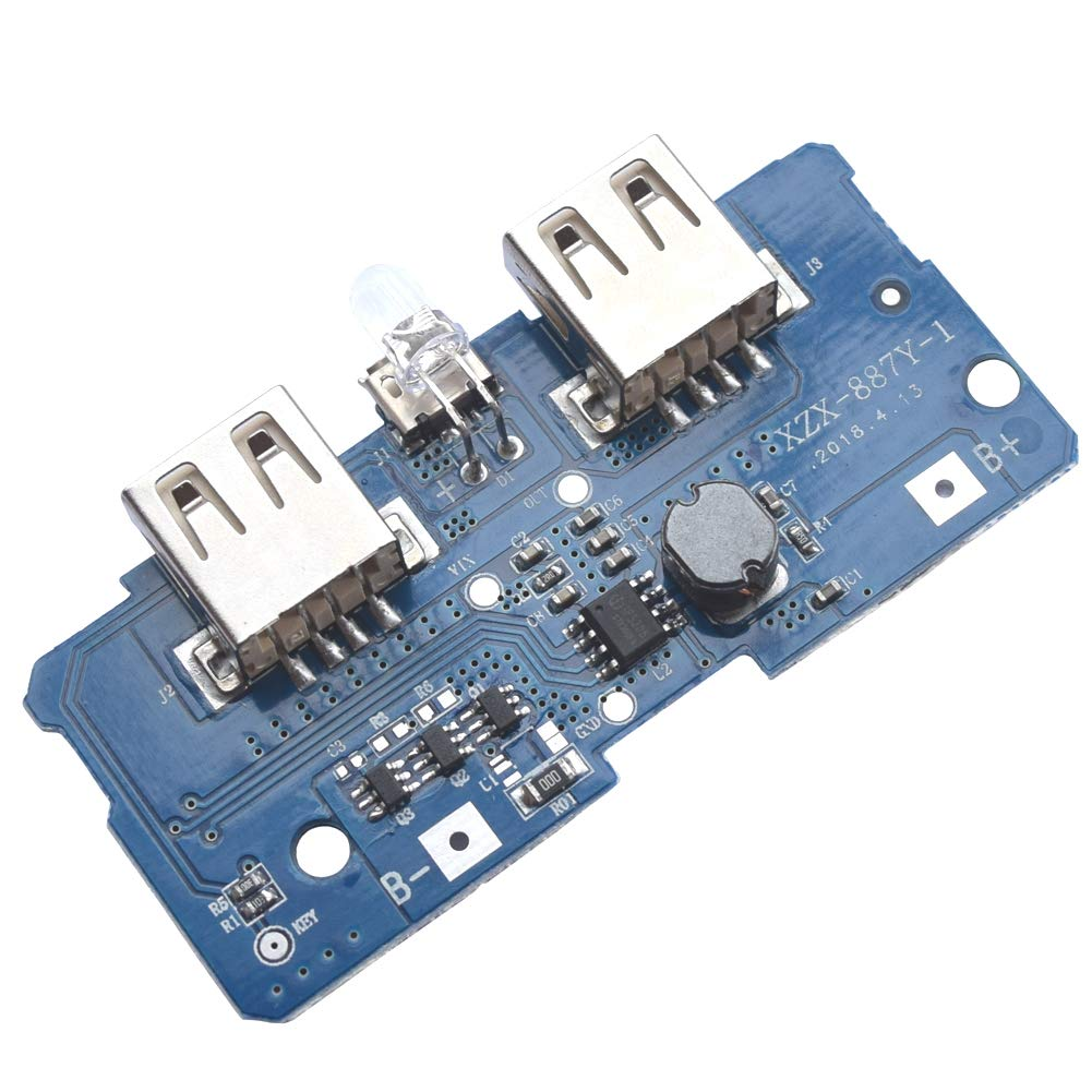 XZX-887Y-1 5V 2A Boost Step Up Module Dual USB Charging Circuit Board PCB Board with Led Light for 18650 Lithium Battery Mobile Power Bank DIY