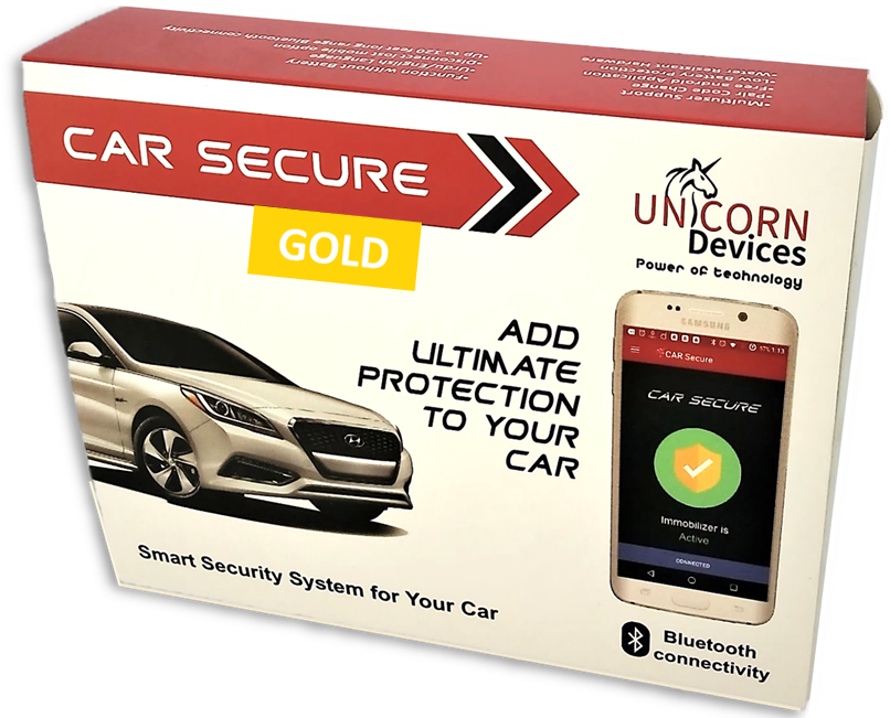 Car Secure Gold  (car security, car alarm, bluetooth, smart car, unicorn devices)