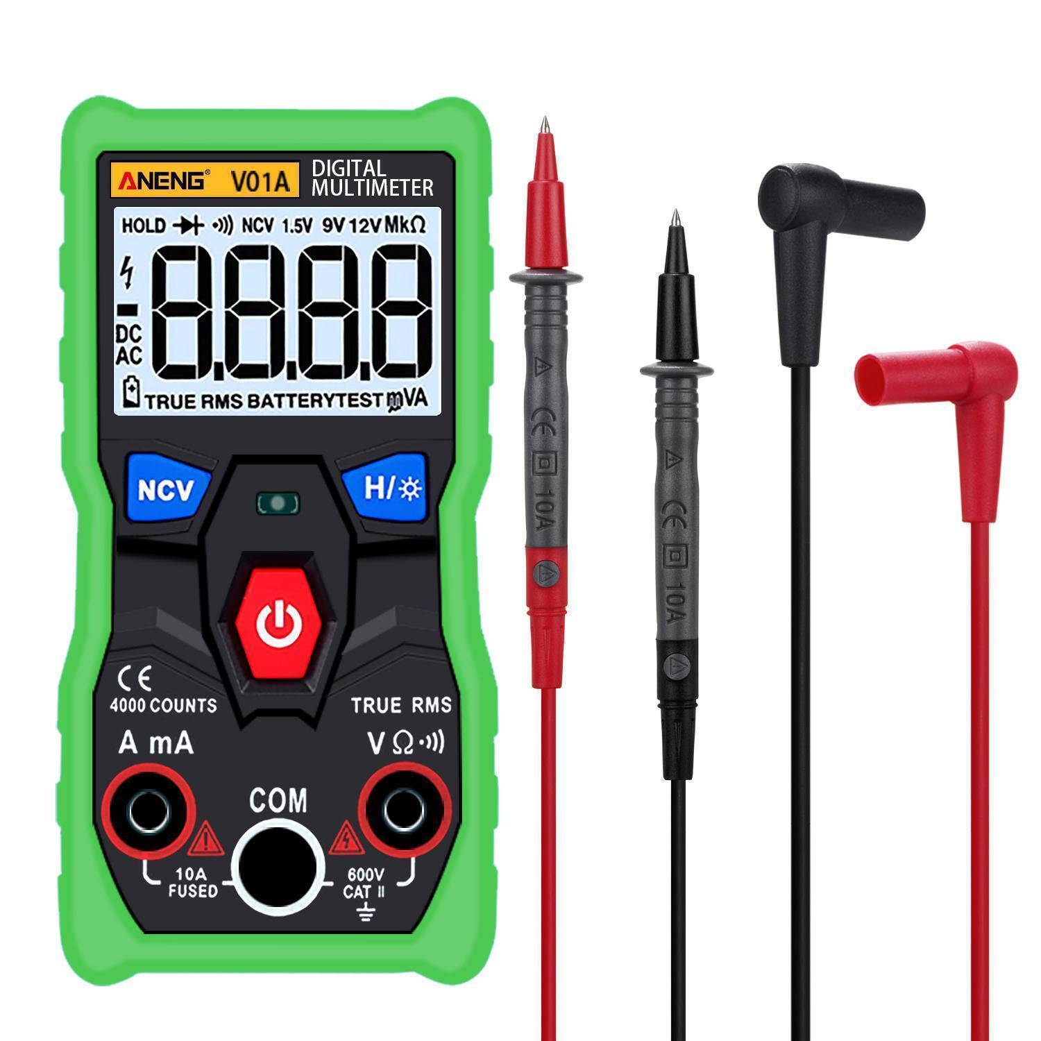 Digital True RMS Multimeter Tester Autoranging Automotriz Multimeter With NCV Data Hold LCD Backlight Flashlight Green Color