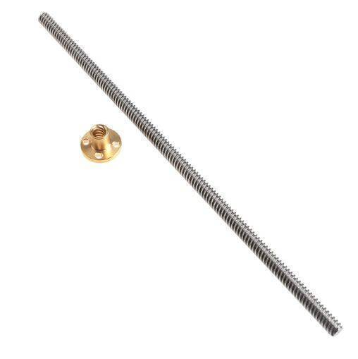 350mm x 8mm Threaded Screw Rod with Brass Nut