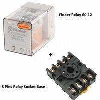 Finder Relay 220VAC 60.12 With 8pin Rail-Mount Relay Socket Relay Base