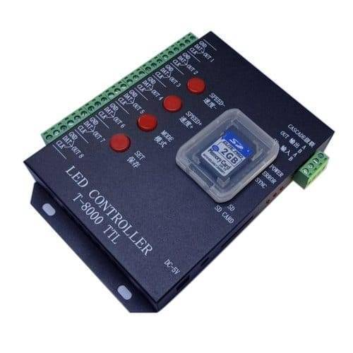LED Pixel RGB Strip TTL Programmable SD Card Controller T8000
