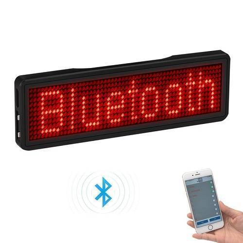 Rechargeable Bluetooth Programmable Scrolling LED Badge With Pin Magnet