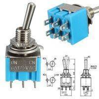 Mini MTS-203 6-Pin DPDT 6A 125VAC Toggle Switch 6 Pin On Off On Toggle Switch 3 Positions
