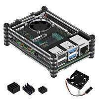 Transparent Acrylic Case For Raspberry Pi 4B With Cooling Fan And Heat Sink Clear And Black Case