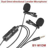 Yoga Dual Omni-directional Lavalier Microphone BYM1DM Camera Video Recorder Mic For IPhone Smartphone DSLR Camera