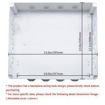 ABS Plastic Dustproof Waterproof IP65 Junction Box Universal Electrical Project Enclosure White 15.7 x 13.8 x 4.7(400mmx350mmx120mm)