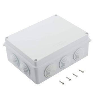 ABS Plastic Dustproof Waterproof IP65 Junction Box Universal Electrical Project Enclosure White (200mmx155mmx80mm)