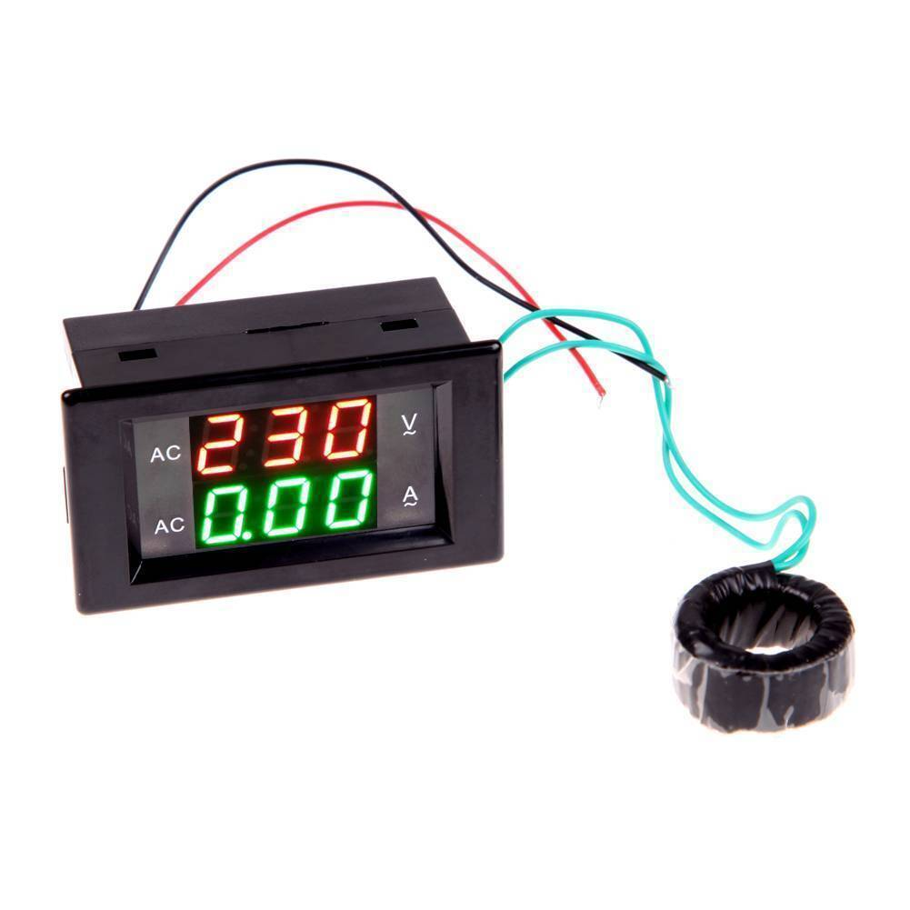 Digital Volt Ampere Amp Meter Voltmeter Guage Voltage AC 100-300V 100A Black AC Voltage & Amp Meter with AC Current Transformer