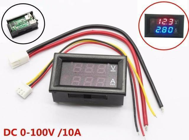DC 0-100V 10A Digital Voltmeter Ammeters Dual Display Voltage Current Meter