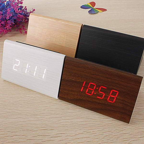 Digital Clock, [Triangular Wooden Series]