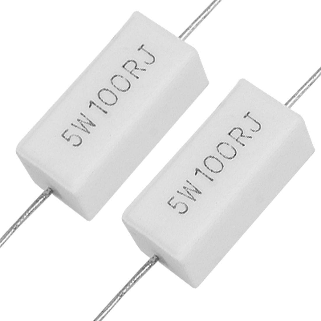 5Watt, 0.2W, Fifth Watt 100 Ohm 5% Ceramic Cement Power Resistor