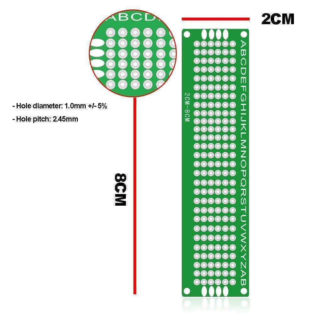 Dotted DIY Double Side 2CM *8CM Printed Circuit PCB Vero Prototyping Track Strip Board