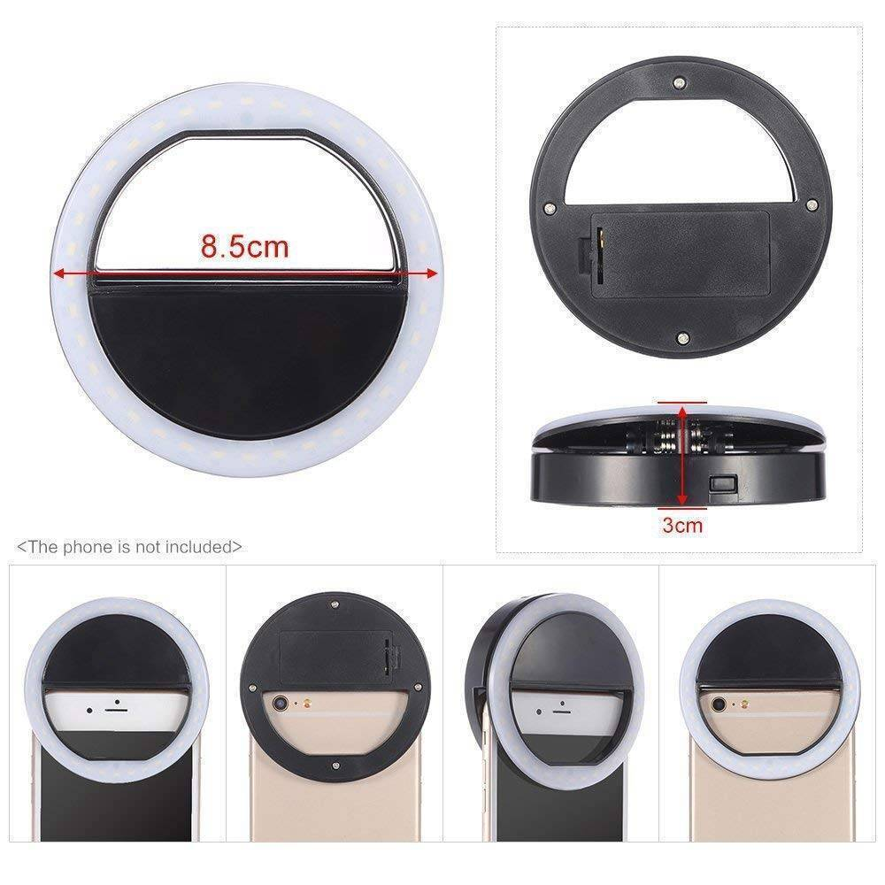 RK 12 Selfie Ring Light USB Rechargeable 36 LED Clip On Cell Phone Camera Light
