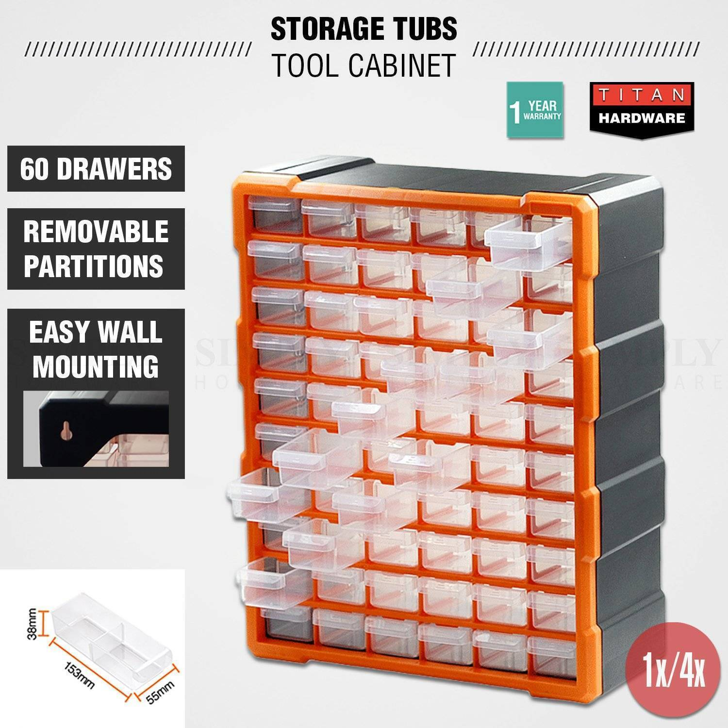60 Drawer Plastic Storage Boxes