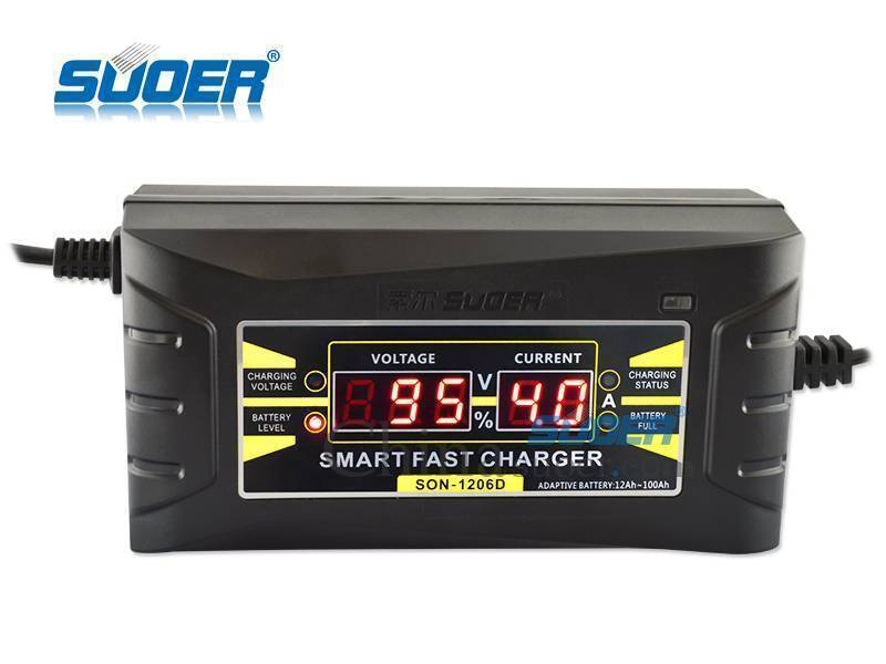 12V 6A Portable Car Battery Charger With Digital Display (Son-1206d)