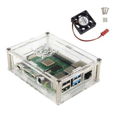 Transparent Acrylic Case For Raspberry Pi 4 Model B With Cooling Fan