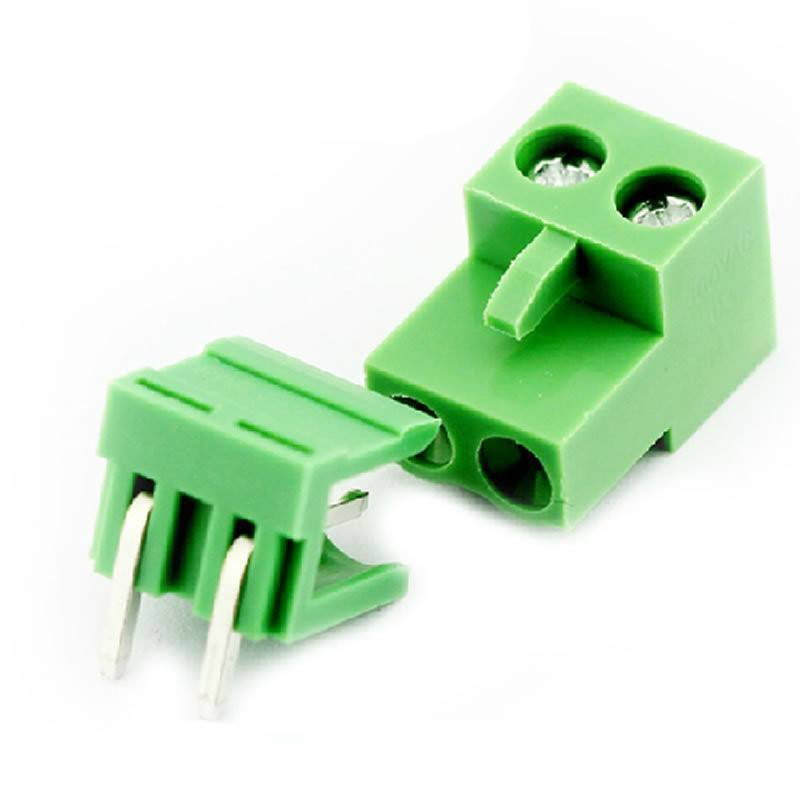 2 Pin Connector PCB Mount Right Angle, Bent Screw Terminal