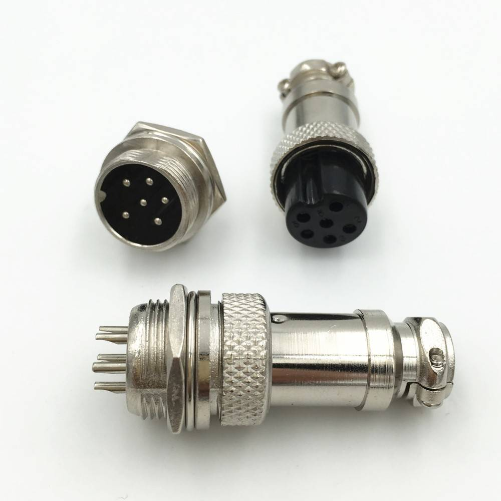 XLR 6 Pin Cable Connector 16mm Chassis Mount 6pin plug Adapter