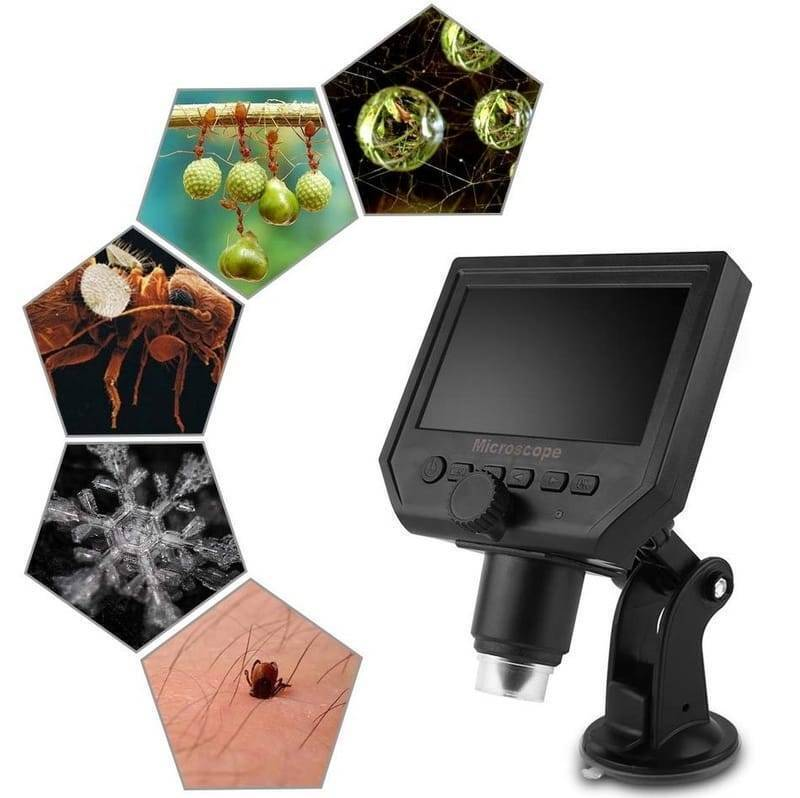 Digital Microscope 4.3in HD LED 3.6MP 1-600X Continuous Magnifier