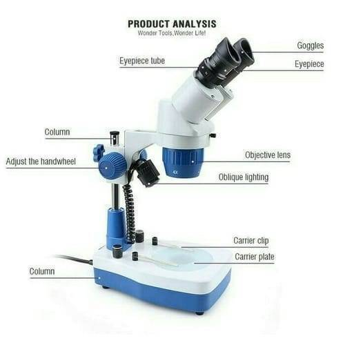 Portable Stereo Microscope 10X LED High Power Magnifying Glass 20X 40X Binocular Microscope YX AK21