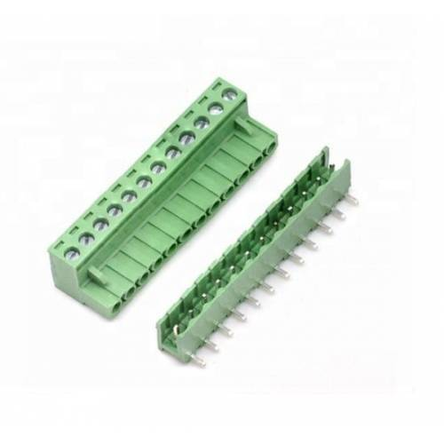 12 Pin Connector PCB Mount Right Angle, Bent Screw Terminal