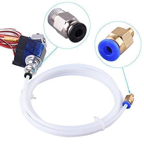 1 Pieces PTFE Teflon Tube (1 Meters) + 1 Pieces PC4-M6 Quick Fitting + 1 Pieces PC4-M10 Straight Pneumatic Fitting Push to Connect for 3D Printer 1.75mm Filament