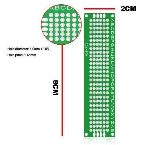 Double Side 2x8 Dotted VeroBoard Printed Circuit PCB Prototype Board Project Board