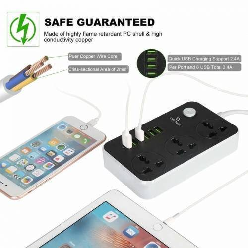 Extension Lead With 6 USB Mobile Charging Port SC3604