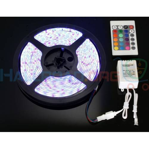 RGB LED Strip With Remote And Power Supply White Background