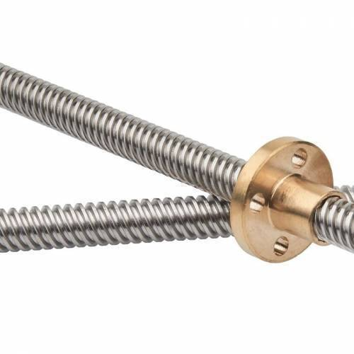 T8 300mmx8mm Screw Threaded Rod With Brass Nut