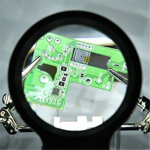 Helping Hand Clip Desktop LED Light Magnifier Glass with Soldering Stand 3.5X 12X