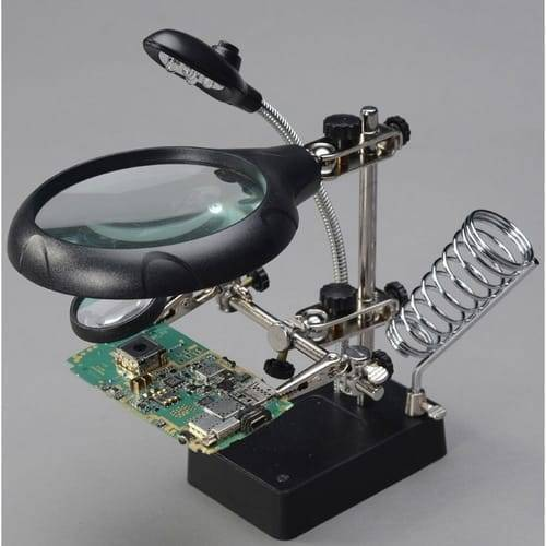 Magnifying Glass 5 LED Auxiliary Clip Magnifier 3 In1 Hand Soldering Solder Iron Stand Holder Station