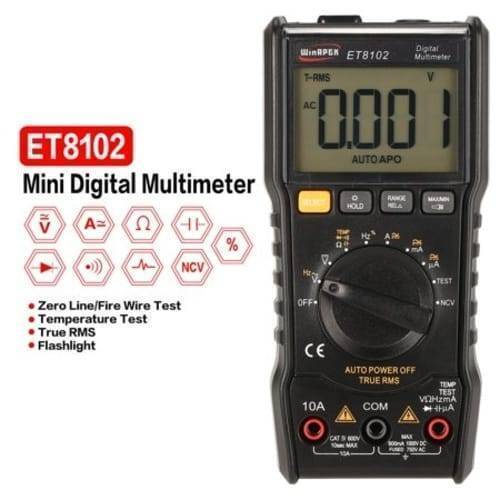 ET8102 True RMS Digital Display Pocket Size Multimeter 1000V 10A Voltmeter Ammeter