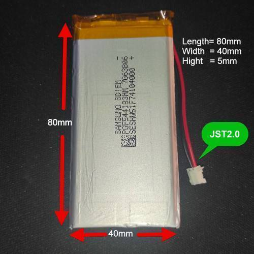 3.7v 3000mah Original Samsung Cell With JST 2.0 Connector with BMS Protection in Pakistan