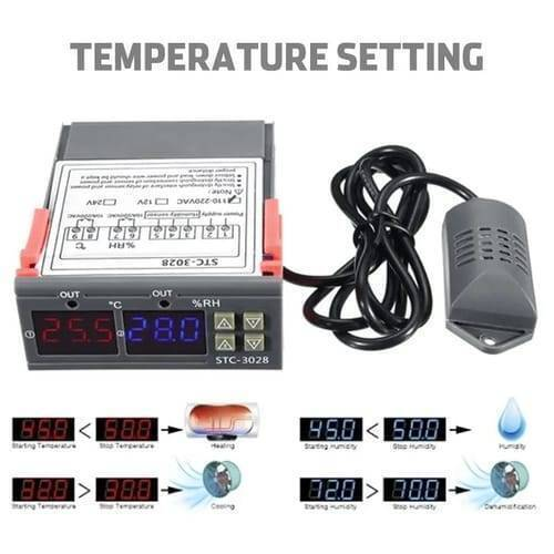 Digital Thermostat Temperature Humidity Control Thermometer Hygrometer 220V STC-3028
