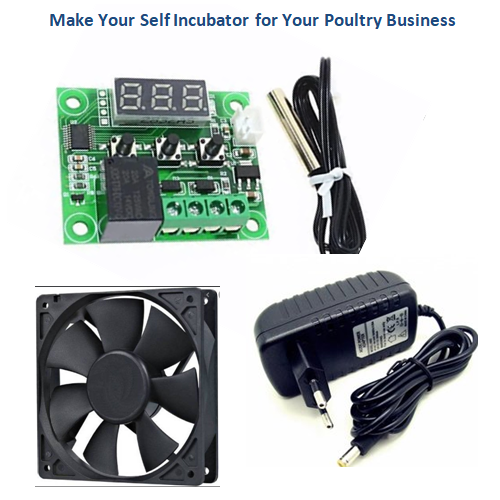 Incubator Controller Kit W1209+ 3 inch Fan+Power Supply Adapter 12v 1A
