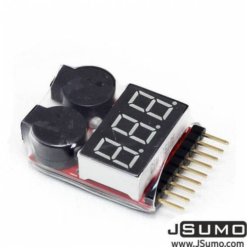 LiPo Buzzer Battery Voltage Indicator Volt Meter Battery Level Tester 1S-8S with Buzzer In Pakistan