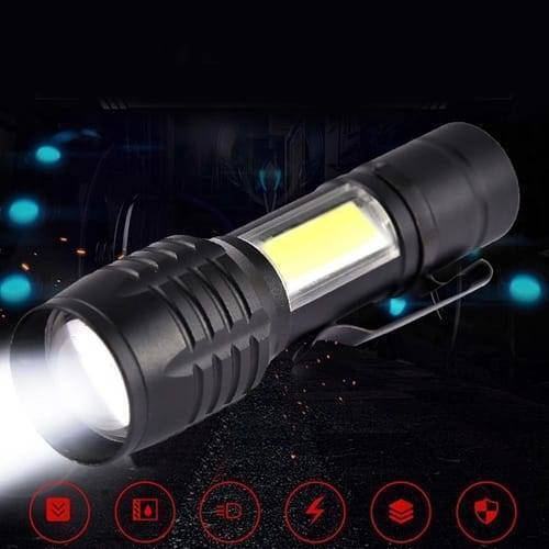 Pocket Size USB Charging Powerful Flash Light Lamp 3800LM XPE COB Portable Zoomable Torch With 3 Modes