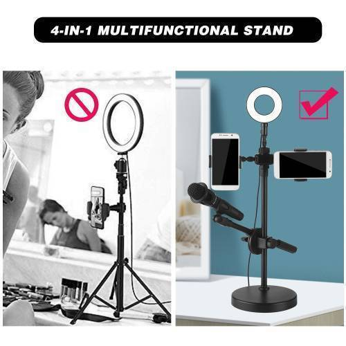 Live Stream Ring Light with Phone Holder and Microphone Stand 3 Light Modes 9 Brightness Level