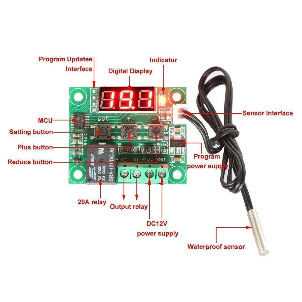 W1209 Temperature Controller Switch With Temperature Sensor And Display