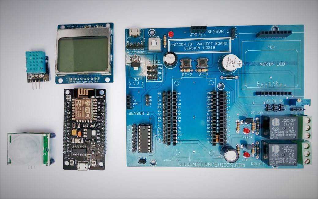 Unicorn IOT Project Board, ESP8266, Node MCU Project Board , Unicorn Devices